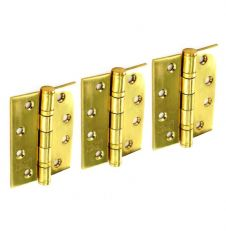 Securit Stainless Steel B.B. Hinges Polished Brass (1 1/2 Pair) - 100mm