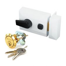 Securit White Finish Double Locking Nightlatch - Standard