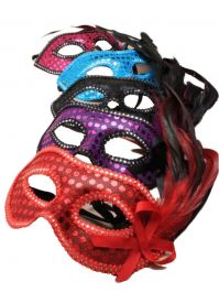Sequin and Feather Detail Face Mask Assorted Colours