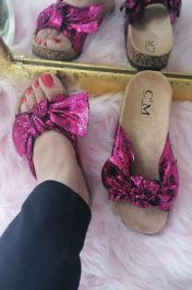 Sequin Bow Sliders Fuchsia Pink