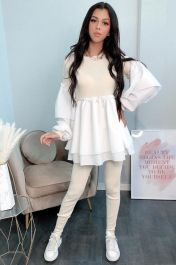 Shirt Insert Long Line Knitted Co-Ord Loungewear (Cream)