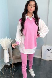 Shirt Insert Long Line Knitted Co-Ord Loungewear (Pink)