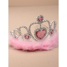 Silver Plastic Tiara with pink heart and pink feather trim