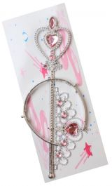 Silver wand and tiara set with pink stones