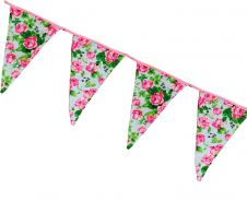 Sky Blue Bunting Flags w/ Pink Flowers