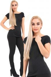 Slash Neck Black Viscose T-Shirt