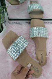 Square Diamante Slider Sandals Beige