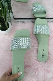 Square Diamante Slider Sandals Green