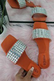Square Diamante Slider Sandals Orange