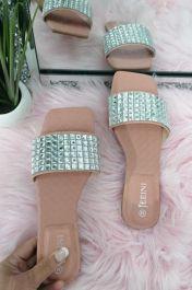 Square Diamante Slider Sandals Pink