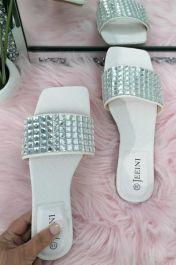Square Diamante Slider Sandals White
