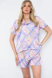 Square Multicoloured Pyjama Shorts Set Purple