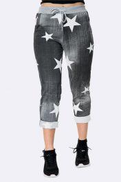 Star Print Foldover Hem Cotton Trouser