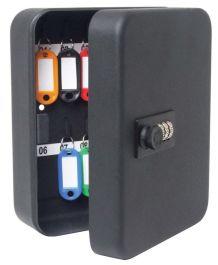 Sterling 36 Hook Combination Key Cabinet - Black - 240 x 300 x 80 mm