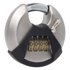 Sterling High Security 4-Dial Combination Lock, Closed Shackle Disc Padlock - 70mm