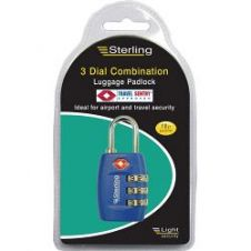 Sterling Light 3-Dial Security Combination Padlock - 26mm Assorted Colours