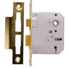 Sterling Mortice Sashlock Polished Brass - 3 Lever - 2.5