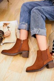 Suede Pull On Ankle Zip Heel Boots Camel