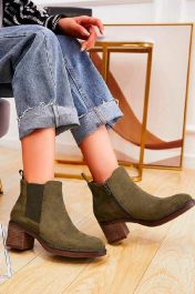 Suede Pull On Ankle Zip Heel Boots Green
