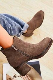 Suede Pull On Ankle Zip Heel Boots Khaki