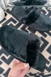 Suedette Faux Fur Lined Mule Slipper Black