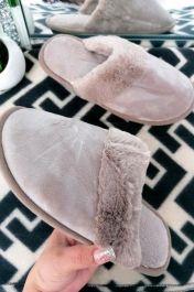 Suedette Faux Fur Lined Mule Slipper Khaki