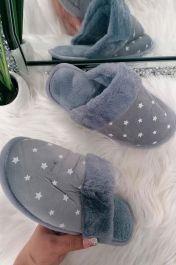 Suedette Star Faux Fur Lined Mule Slipper Grey