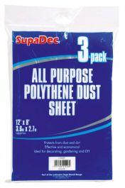 SupaDec All Purpose Polythene Dust Sheets - 12' x 9' Pack 3