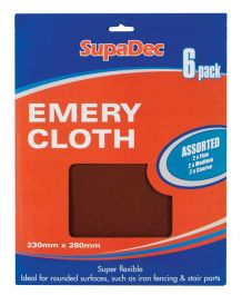 SupaDec Emery Cloth - Pack 6 Assorted