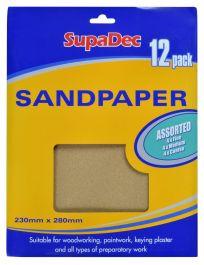 SupaDec General Purpose Sandpaper - Pack 12 Assorted