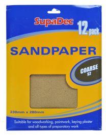 SupaDec General Purpose Sandpaper - Pack 12 Coarse S2