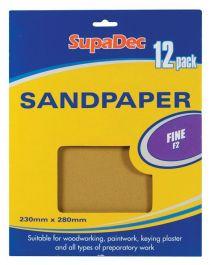 SupaDec General Purpose Sandpaper - Pack 12 Fine F2