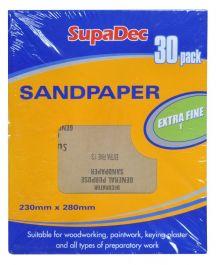 SupaDec General Purpose Sandpaper - Pack 30 Extra Fine 1
