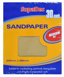 SupaDec General Purpose Sandpaper - Pack 30 Medium M2
