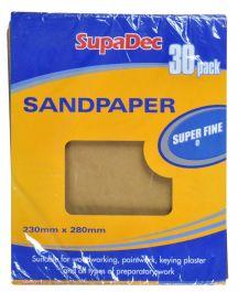 SupaDec General Purpose Sandpaper - Pack 30 Super Fine 0