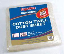 SupaDec Pro Cotton Twill Dust Sheets Twin Pack - 12' x 9' (3.6m x 2.7m) approx