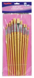 SupaDec Wooden Handle Artist Brush Set - 12 Piece