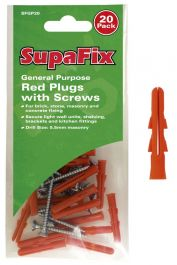 SupaFix General Purpose Plugs with Screws - Red Pack 20