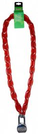 SupaFix Security Chain with Padlock 1500mm - Bright Zinc Plated 10mm Red