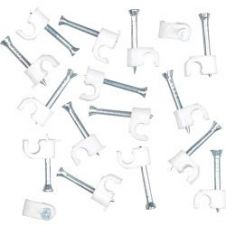 SupaLec Cable Clips Round Pack of 100 - 4mm - White