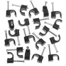 SupaLec Cable Clips Round Pack of 100 - 6mm - Black