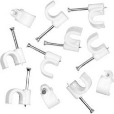 SupaLec Cable Clips Round Pack of 100 - 8mm - White