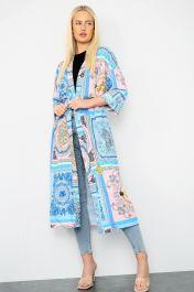 Tie Waist Long Jacket Blue