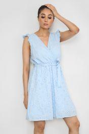 Tie Waist V-Neck Mini Dress Blue