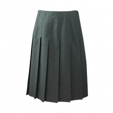 Top Stitched Pleated Skirt Without Waistband