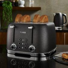 Tower Glitz Toaster - Black 4 Slice