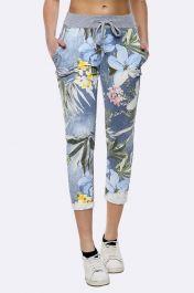 Tropical Floral Print Drawstring Trouser