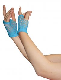 Turquoise Fingerless Short Fishnet Gloves