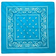 Turquoise Paisley Bandana (1 Dozen)
