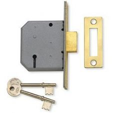 Union 3 Lever Mortice Deadlock - Polished Brass Finish 2.5